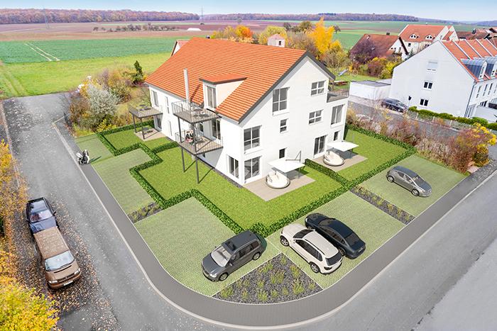 Visualisierung Architektur Mehrfamilienhaus